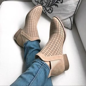 Beige Suade Cutout Booties! 👢